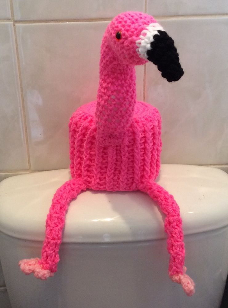 Flamingo Hand Crochet Large Toilet Roll Cover In Home