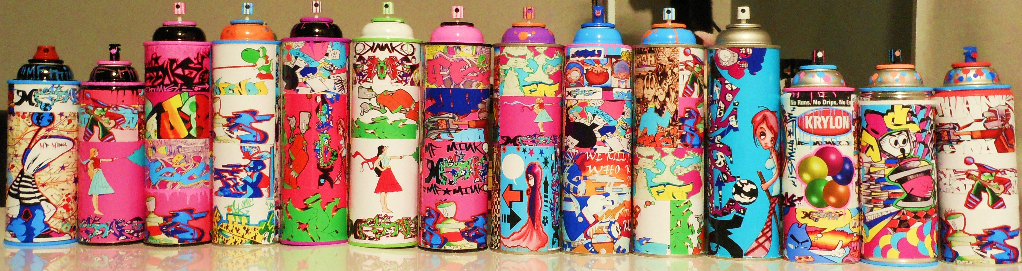 Spray Can Graffiti Art Collection  Great use of old empty spray