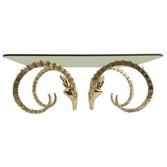 Polished Brass Ibex Or Ram Head Coffee Table Base Mebel