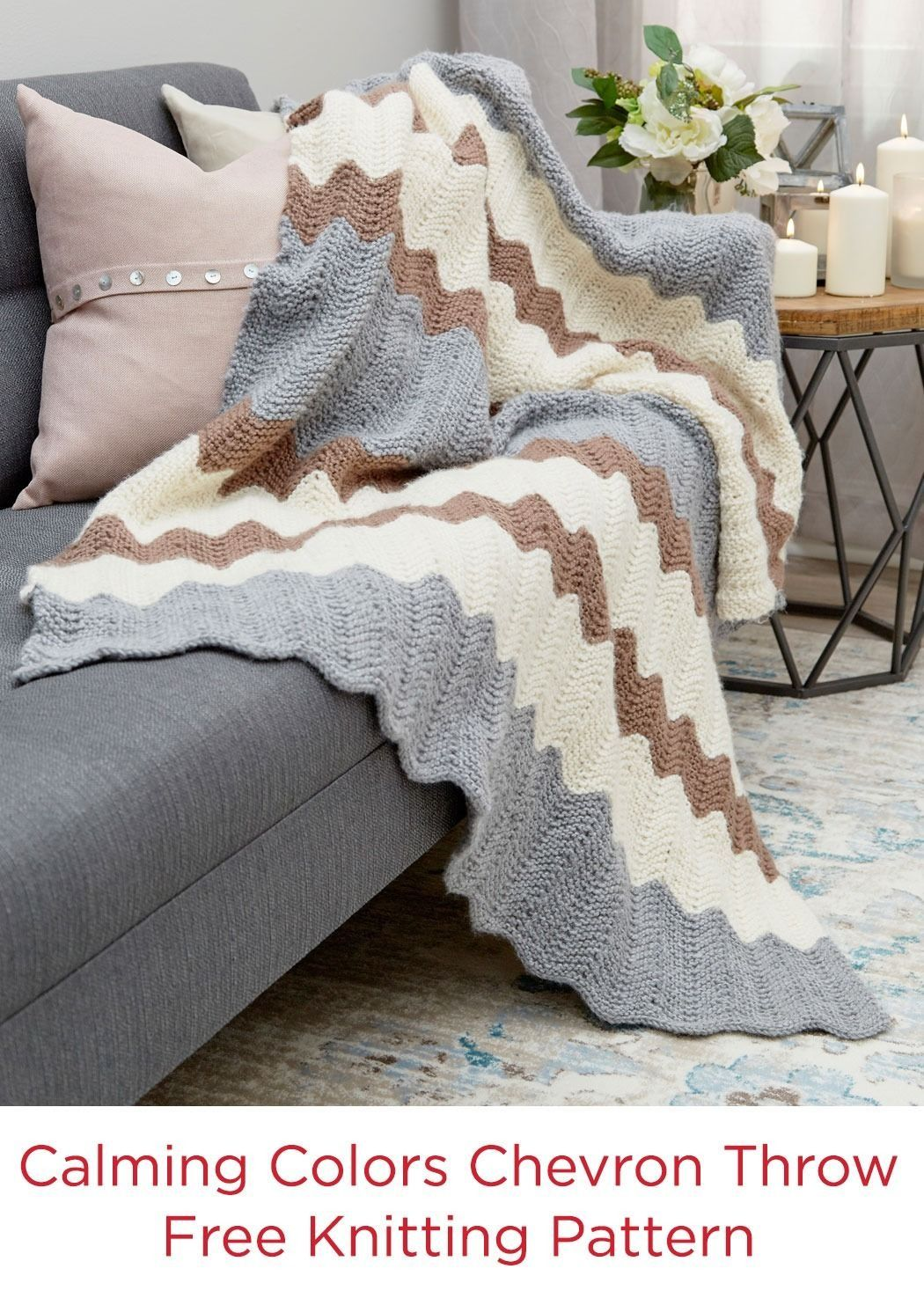 Calming Colors Chevron Throw Free Knit Pattern Red Heart Yarns in