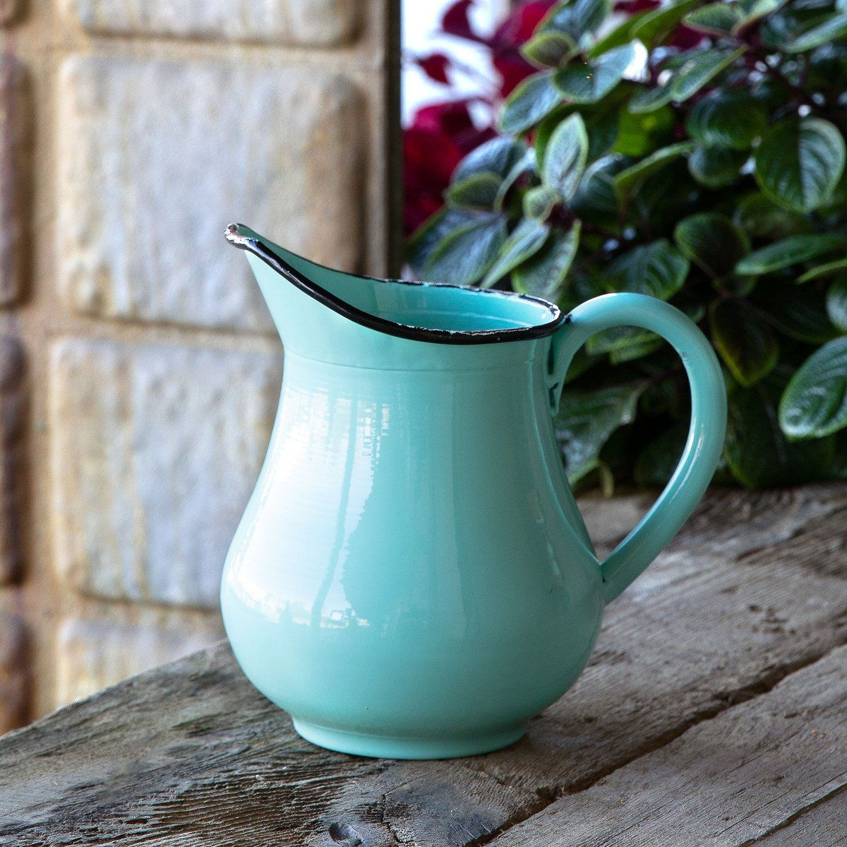 24cm Duck Egg Green Rustic Farmhouse Stoneware Flower Jug Pitcher Kitchen Decor