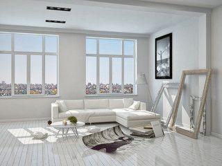 Parkett Wohnzimmer Dekoration : Weißes wohnzimmer mit couch und dekoration sofas