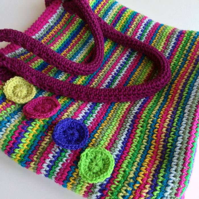 Rainbow crochet tote Stylecraft completed bag showing handles ...