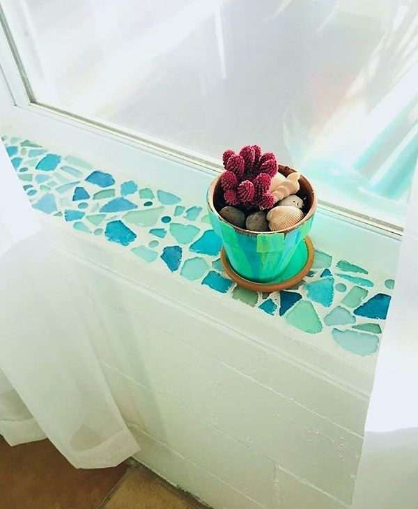 Photo of Seaglass Mosaic on Window Sill