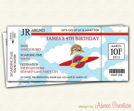 Airplane Ticket Boarding Pass Birthday Invitation: Airplane Ticket / Boarding Pass Birthday Invitation