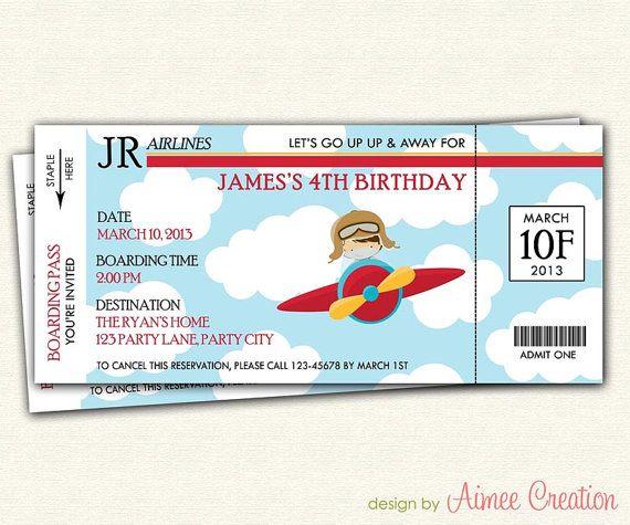 Airplane Birthday Invitation Diy Printable By Vindee On Etsy: Airplane Ticket / Boarding Pass Birthday Invitation
