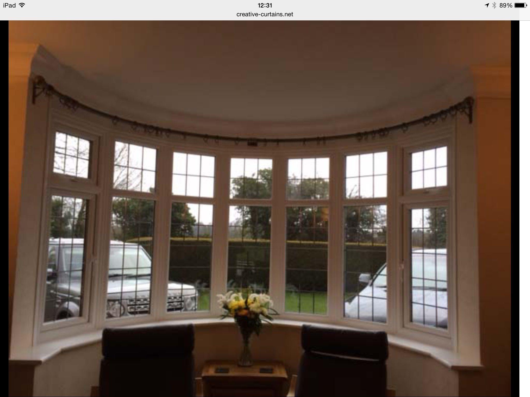 Curtain Pole For Curved Bay Window Only Three Brackets Sliding Door Curtains Bay Window Curtains Bay Window