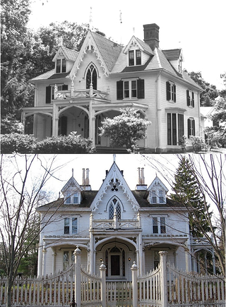 Gothic Revival House Thompson Ct The Link Is Old It Goes To A Foreign Language Site Victorian Style Homes Gothic House House Plans With Photos