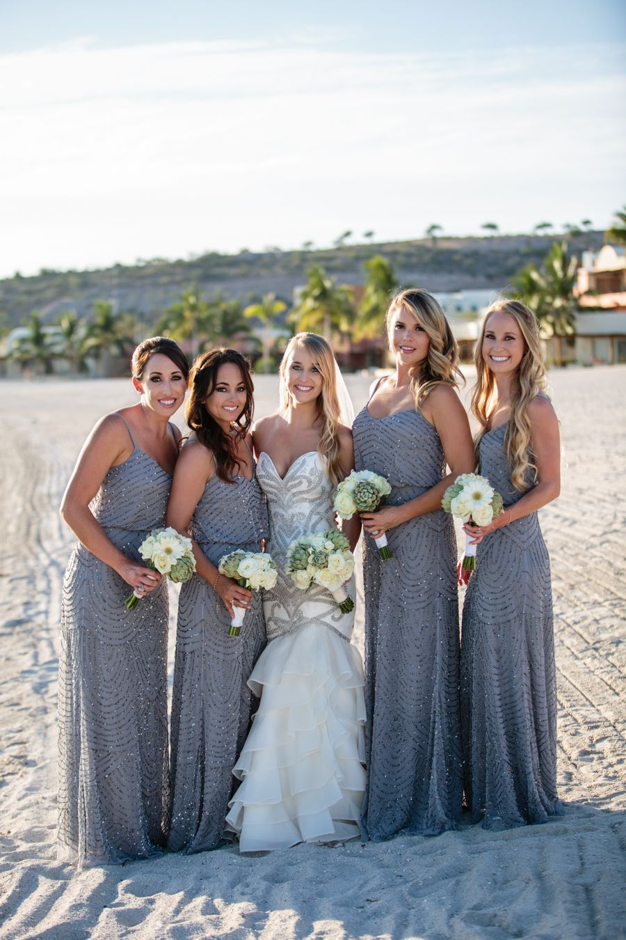 Bride And Bridesmaids In Silver Theme Wedding Wedding Gown By St