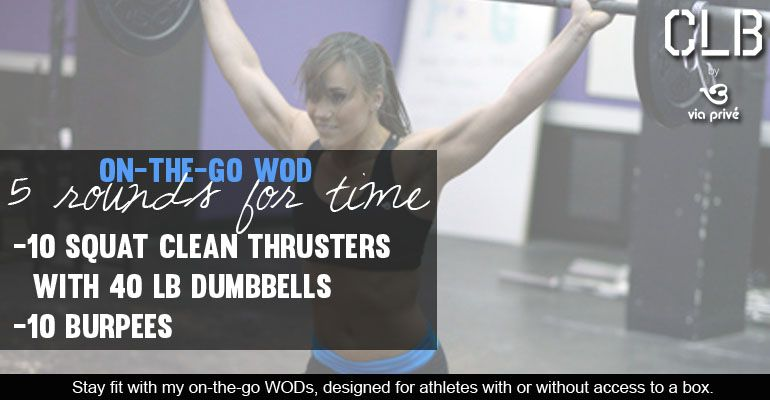 Check out an on-the-go WOD that Camille Leblanc-Bazinet put together for times when you don't have access to a box! #crossfit #workout