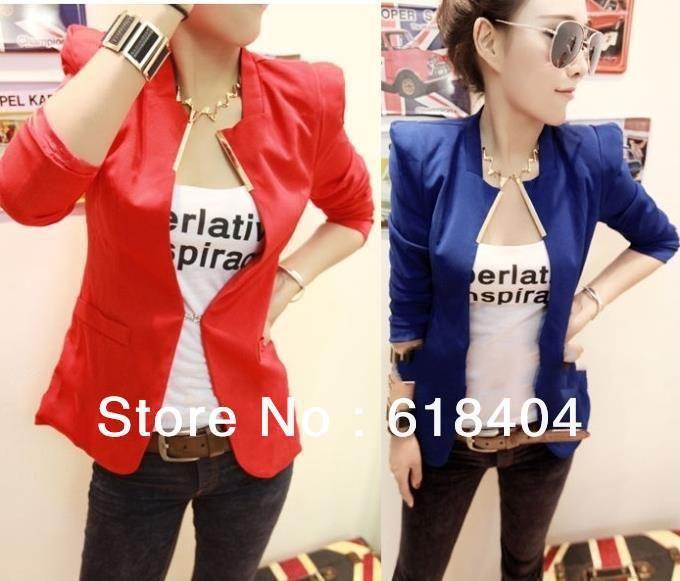 frete grátis novo mulheres moda coréia colar de metal slim shrug blazer terno casaco 5 cores preto azul branco amarelo vermelho sm wc148 US $12.99