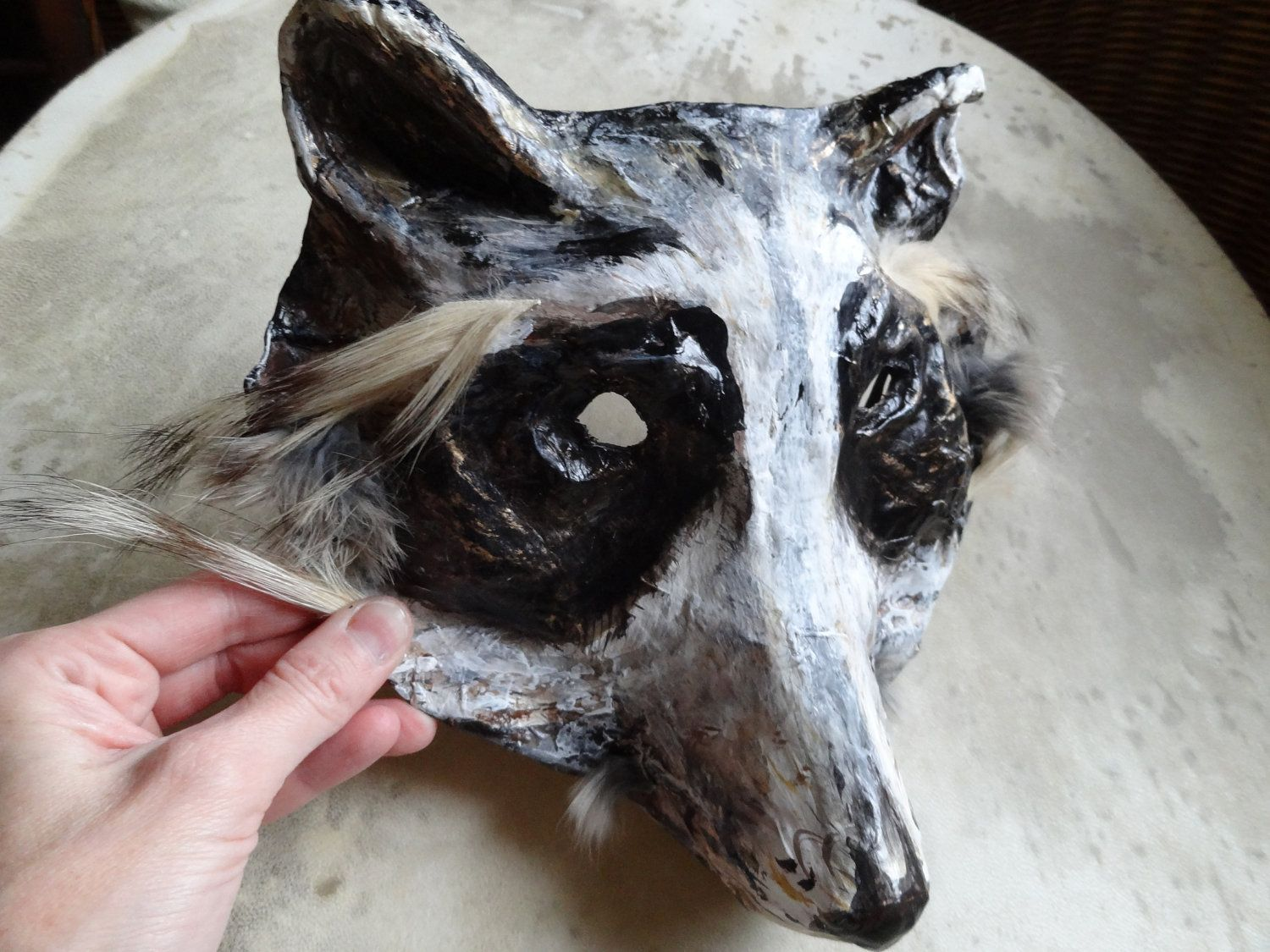 Paper mache papier mache Raccoon Mask Halloween mask Animal mask ...