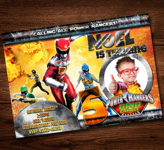 Power Rangers Invitation Card Birthday Card For Kids Power