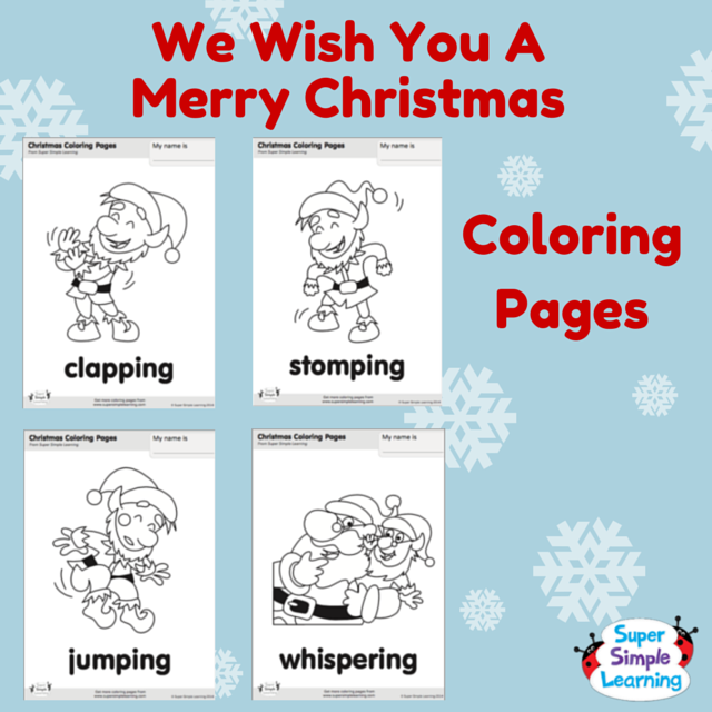 Practice Action Verbs With We Wish You A Merry Christmas Coloring Pages From The