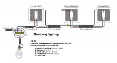 Three way lighting wiring intermediate switch wiring