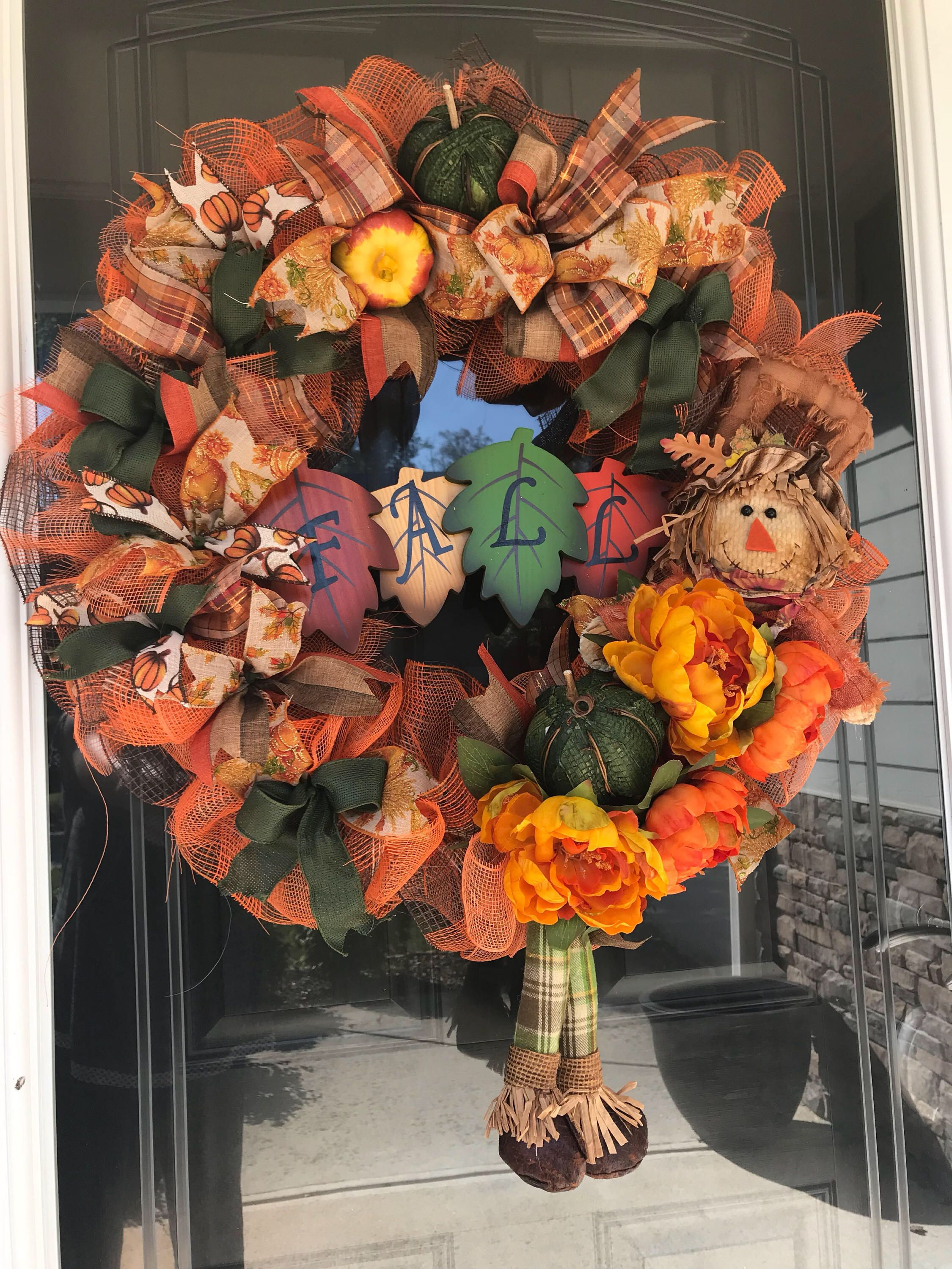 Fall Seasonal Scarecrow Wreath From My Etsy Shop  Https://www.etsy.com/listing/561123069/fall Door Wreath Fall Wreath Autumn  Door