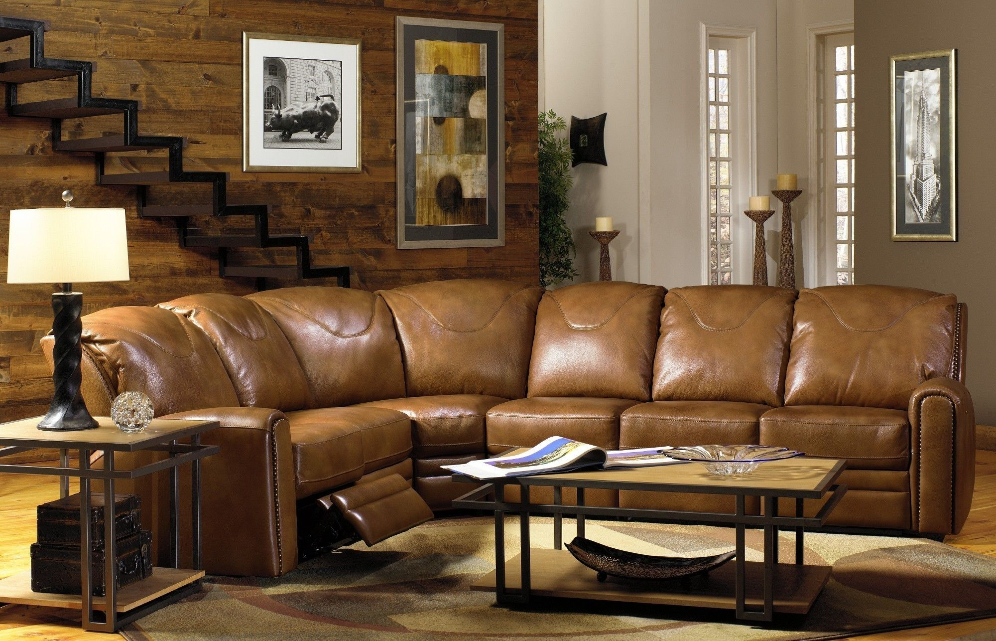 Living Room Furniture L Shaped Light Brown Genuine Leather