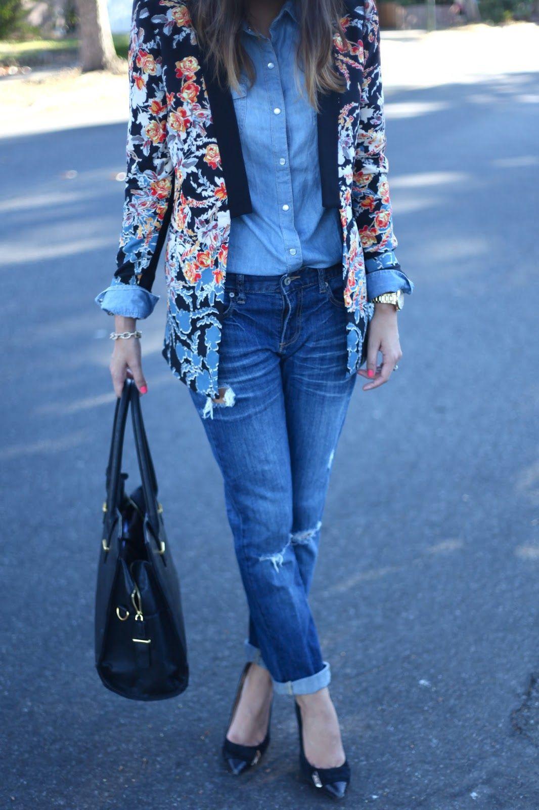Denim topped with a bold blazer.