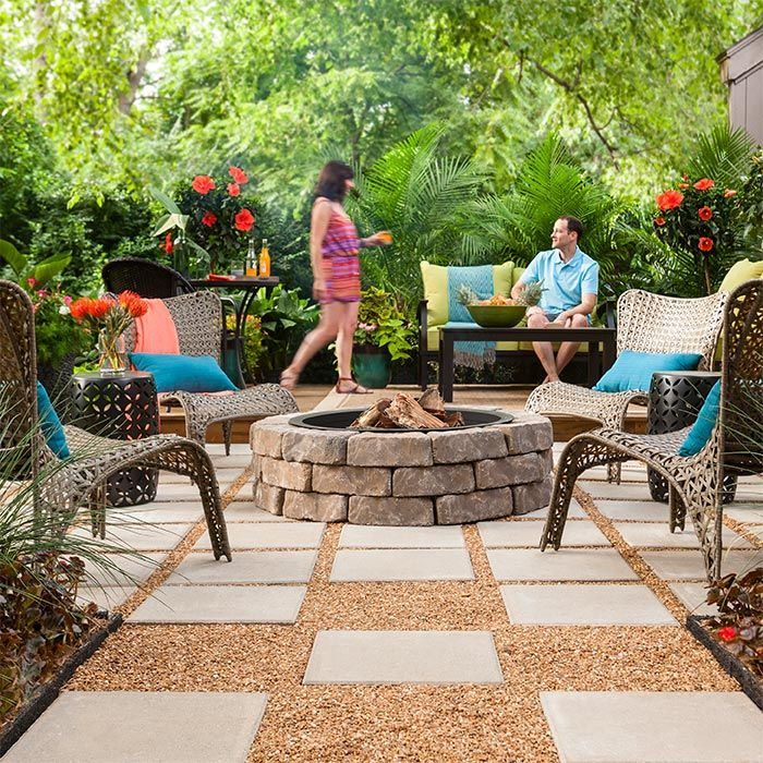 Paver Patio With Fire Pit Patio Firepit Homedecor Home Diy Pea Gravel Patio Fire Pit Patio Gravel Patio