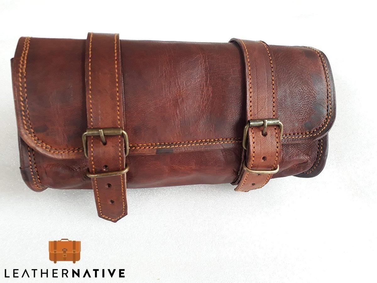 vintage crafts Genuine Goat Leather Messenger Satchel Motorcycle Tool Bag Brown Handlebar Sissy bar Travel Bag Saddlebags Panniers