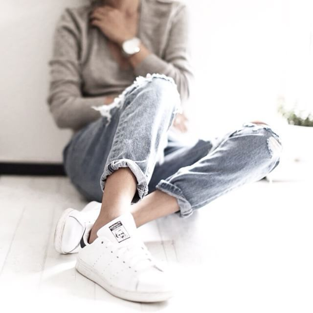 more photos 723f1 6981a ripped jeans   stan smith x adidas sneakers  style  fashion  shoes edgy +  basics     sicilianswede