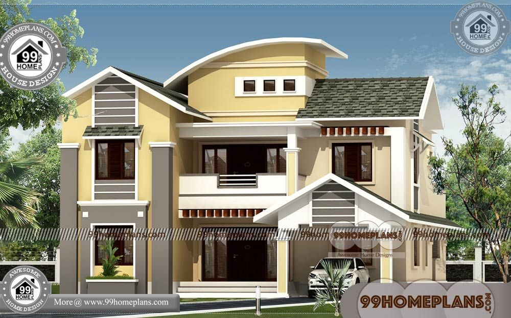 Contemporary Architecture Plans With Best Two Storey House Designs Having 2 Floor 4 Total Bedroom Kerala House Design House Design Pictures Indian Home Design