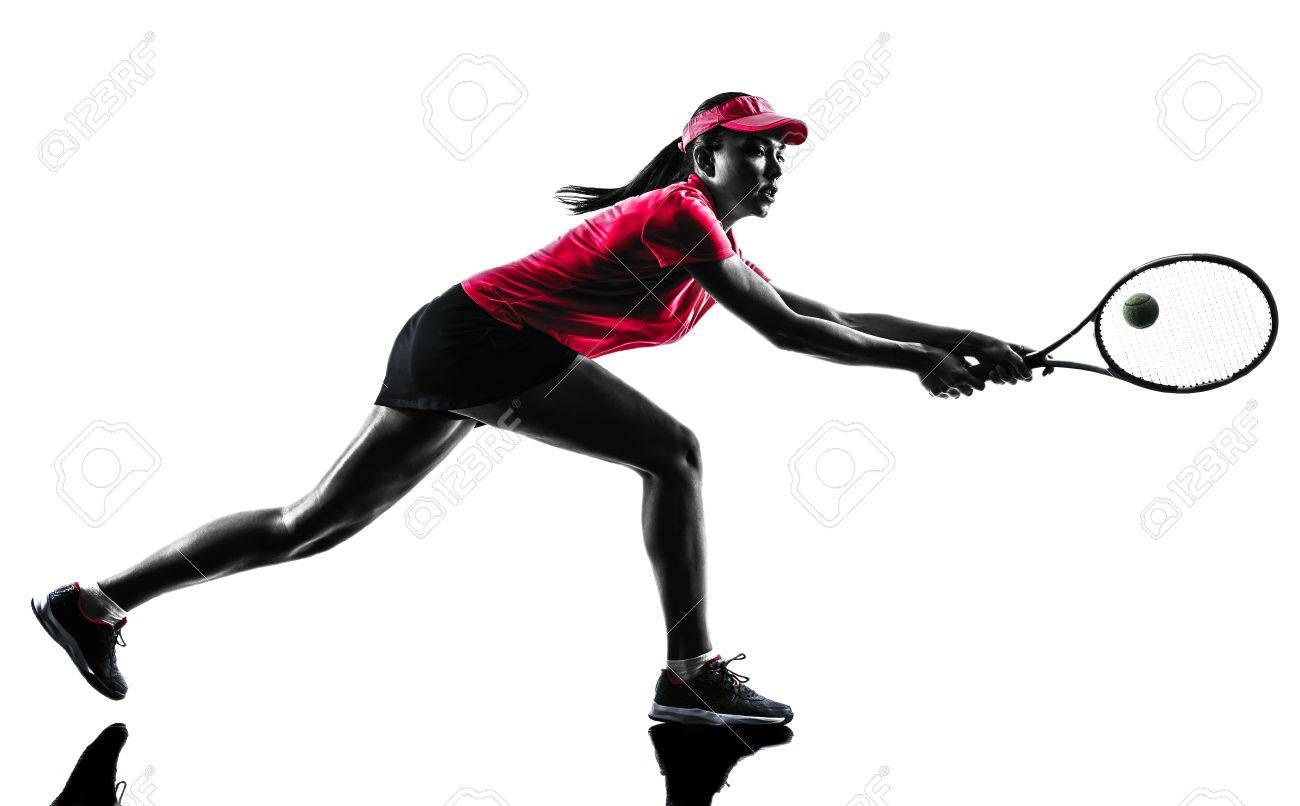 One Woman Tennis Player Sadness In Studio Silhouette Isolated On White Background Tennis Players Tennis Photo
