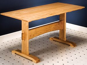 How to Build a Trestle Table: Simple DIY Woodworking Project - Step-by step plans to make a medieval serving table that comes apart when the feast is over, with 3D animation and master-level blueprints.