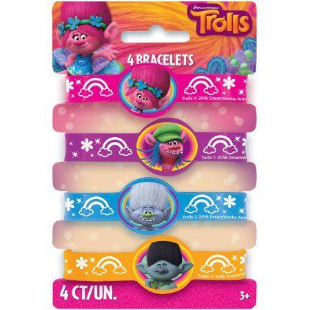 Buy Trolls Rubber Bracelet Party Favors 4 Count At Walmart
