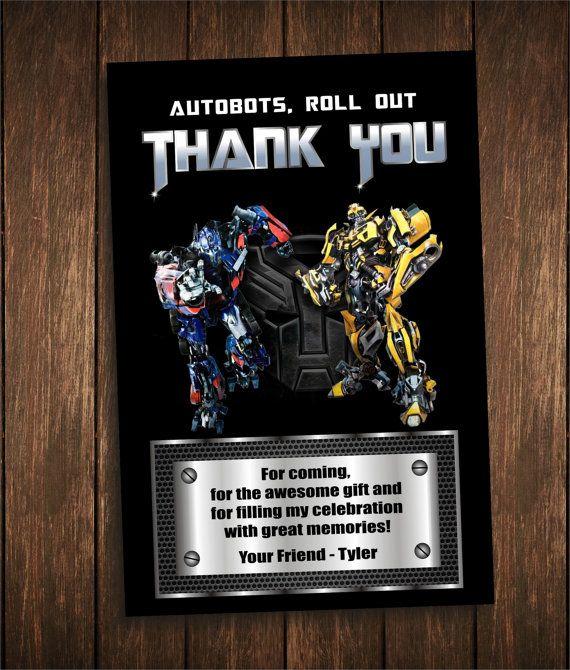 Transformers Thank You Card Birthday Invitation Digital Personalized Printable Custom Birthday Cards Thank You Cards Cards