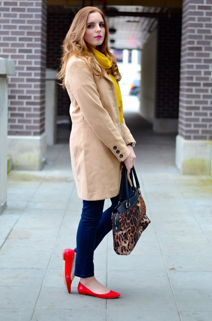 kensie denim (and a giveaway!) | Red flats, Camel coat and Camels