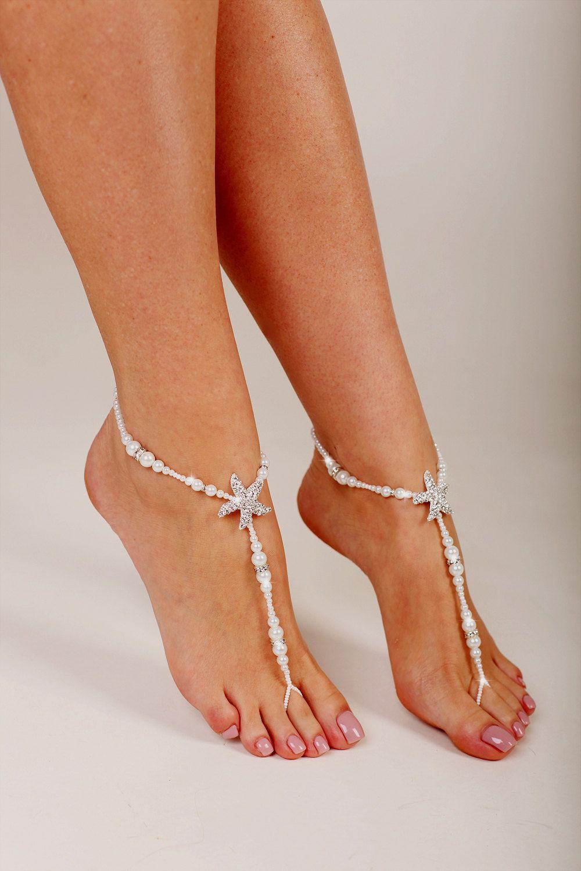 b7f7bba0e Starfish Beaded Barefoot Sandals Anklet Beach wedding Barefoot Sandal Pearl Barefoot  shoes Bridal Barefoot Sandals footless sandals
