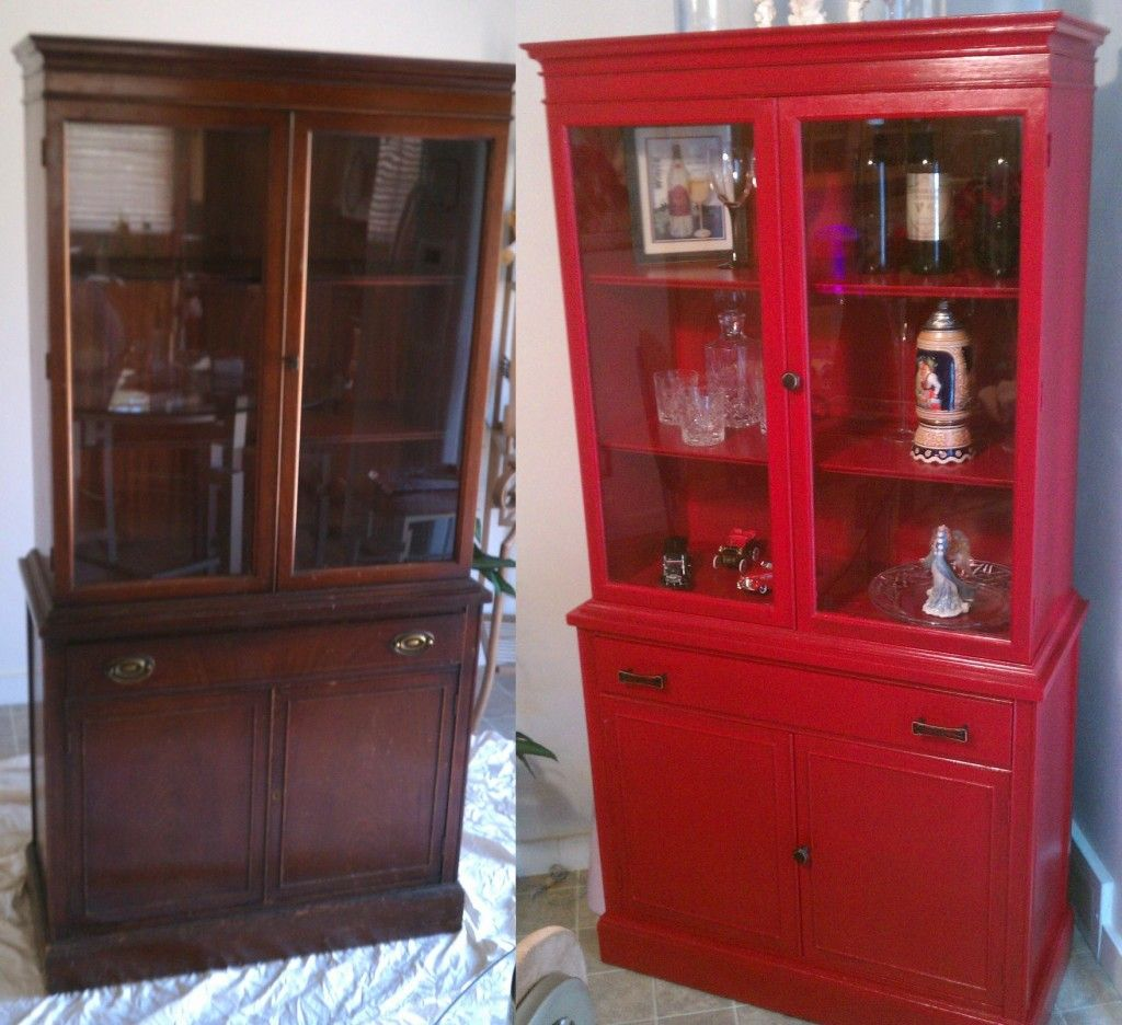 Red Velvet Cabinet Before and After | DIY - Before