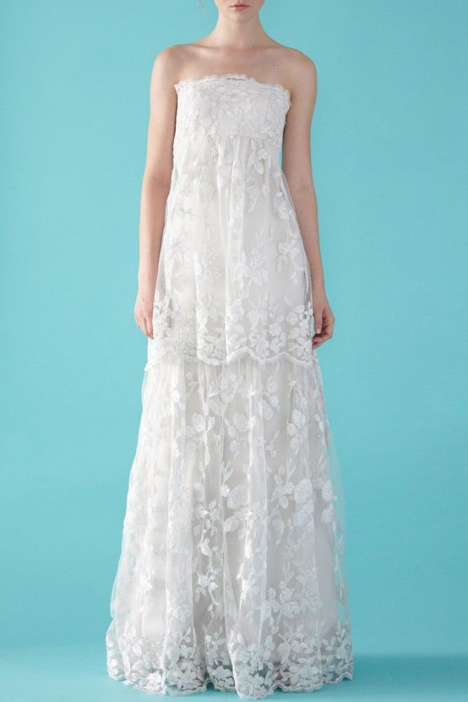 Lace, empire waist wedding dress. I dont like the top...but the ...