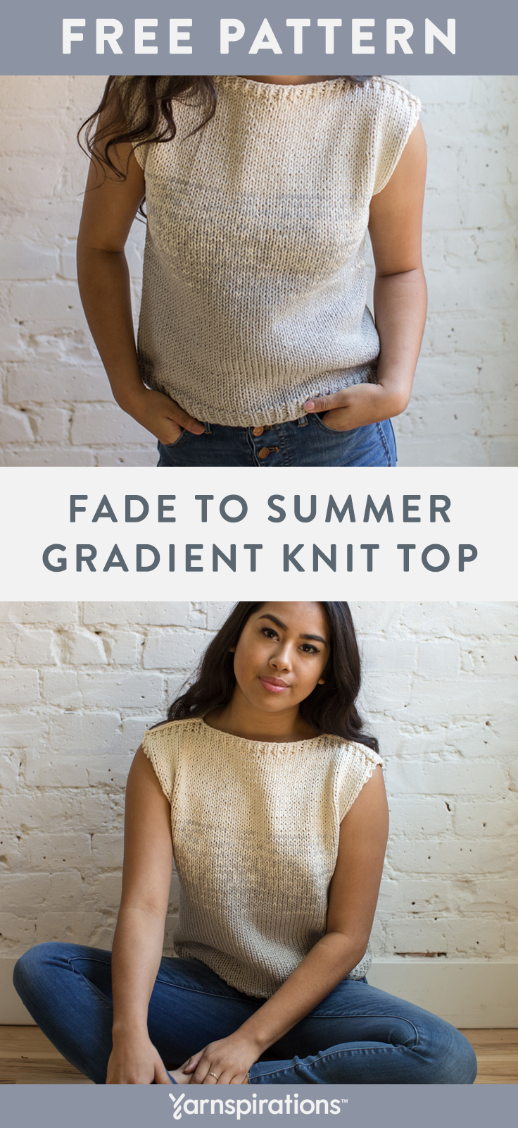Fade To Summer Gradient TShirt  Free Knitting Pattern  Yarnspirations  Flax  Fade To Summer Gradient TShirt  Free Knitting Pattern  Yarnspirations  Flax  Fade To Summer G...