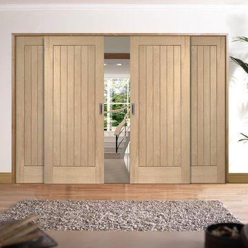 Easi-Slide OP1 Oak Suffolk Flush Sliding Door System in Four Size Widths