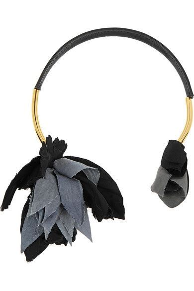 MARNI Gold-plated, leather and grosgrain necklace