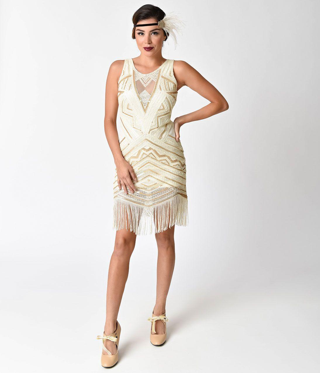 Vintage Style Ivory Gold Sheer Sleeveless Sequin Flapper Dress ...