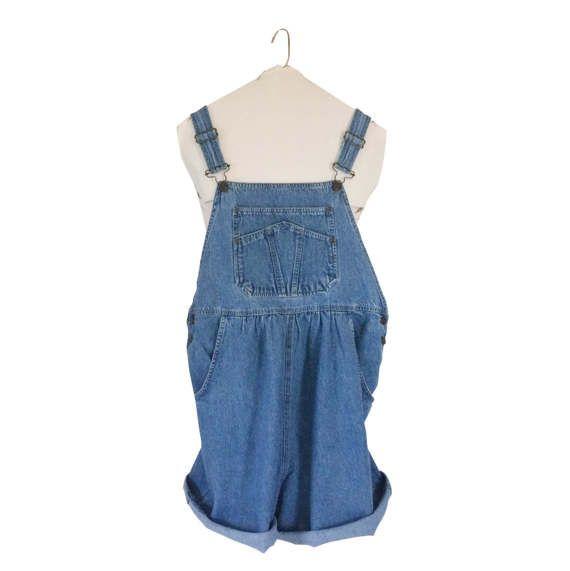 MATERNITY Size Medium vintage overalls shortall 1990s 90s clothing denim jean shorts