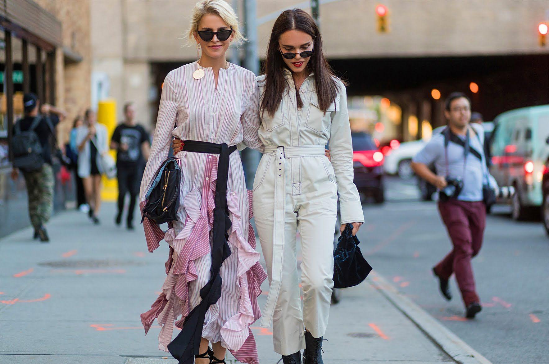 42957e6138 New York Fashion Week Street Style Pink Ruffled Dress Chambray Jumpsuit