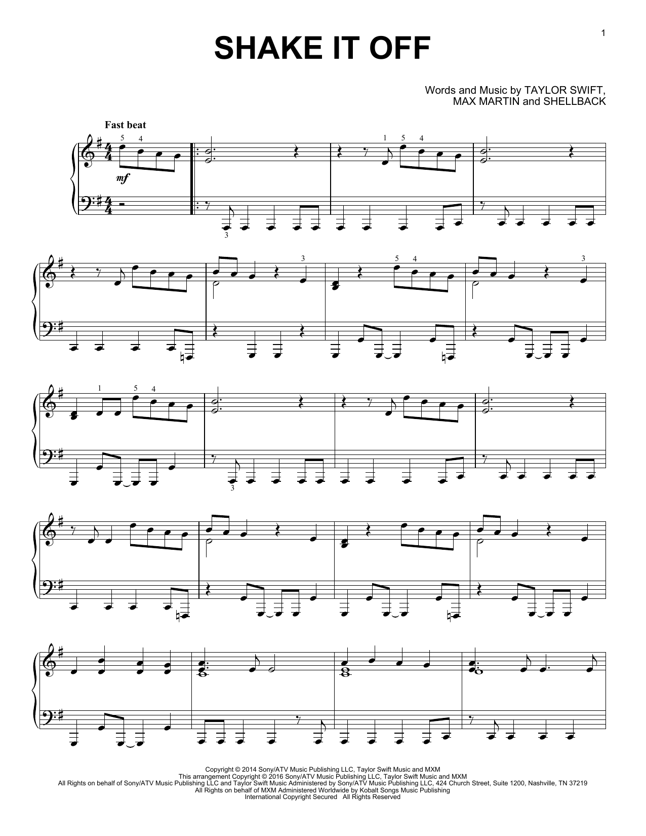 Taylor Swift Shake It Off 174915 Sheet music notes