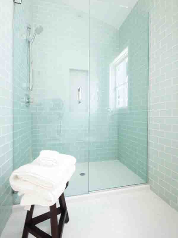 Tile backsplash bath design sea foam and subway tiles for Sea glass bathroom ideas