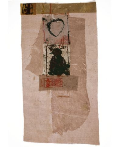 Hannelore Baron, Untitled 1980 Mixed Media Collage, paper and ink on fabric, via: http://www.artnet.com