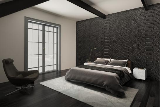 Overzicht van de black suit slaapkamer slangenleer met wit