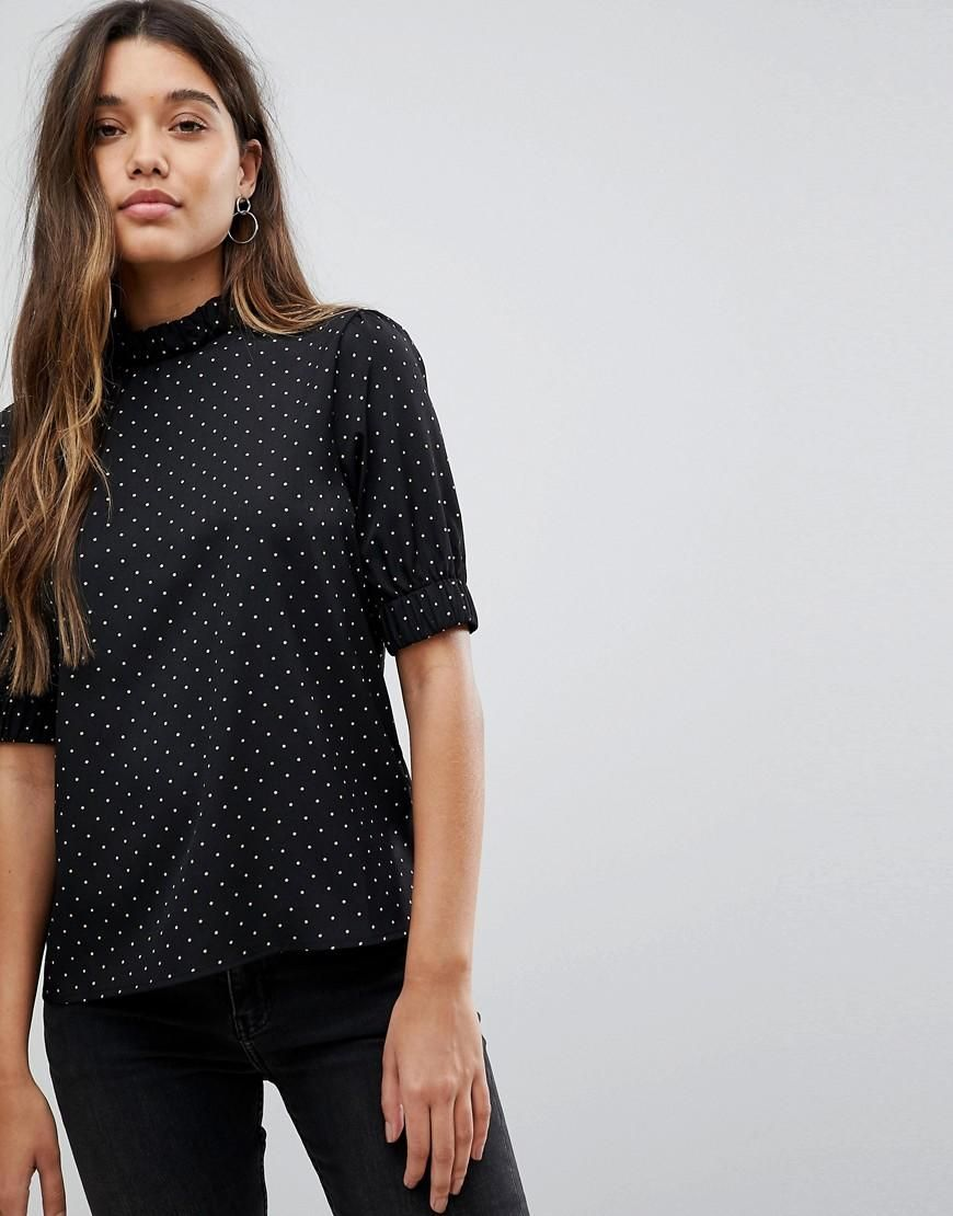 f7e7d4cda3  Valentines  AdoreWe  ASOS -  Fashion Union Fashion Union High Neck Blouse  In All Over Polka Dot - Black - AdoreWe.com