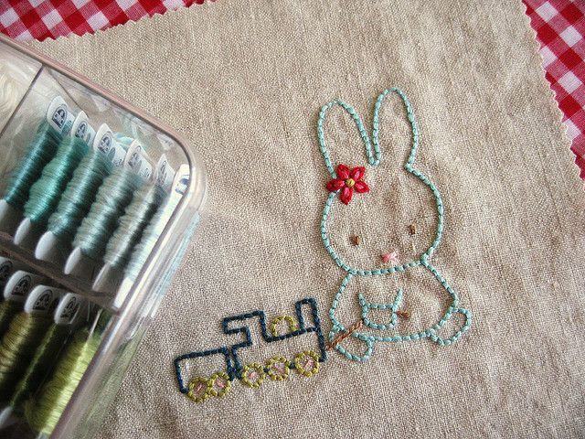 Bunny with toy train hand embroidery redwork