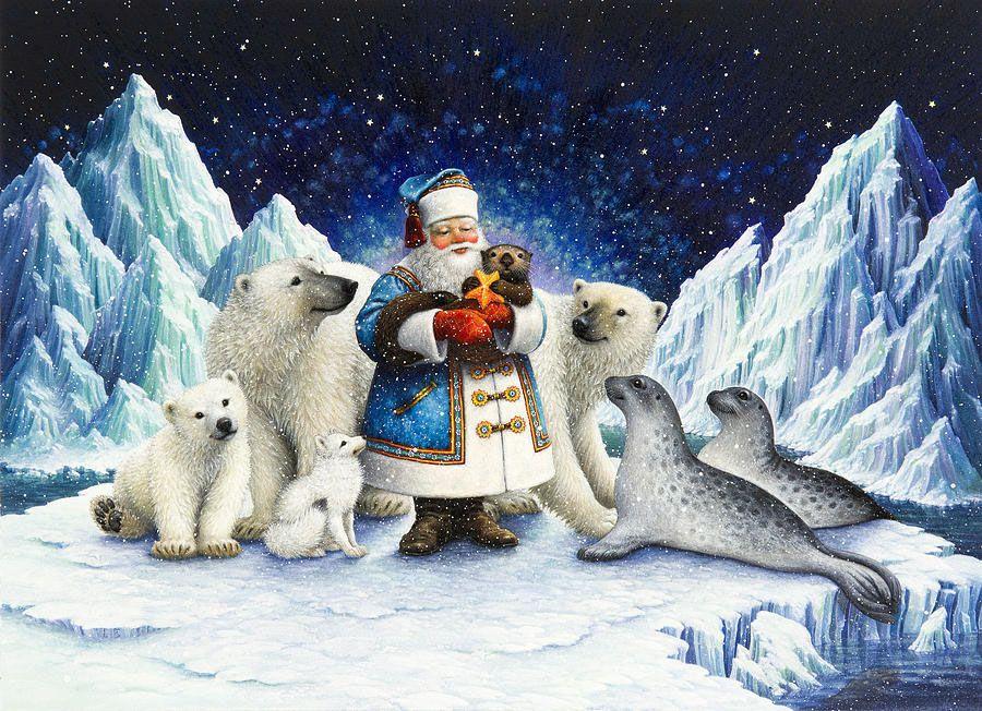 Гиф для, рождественские открытки с животными