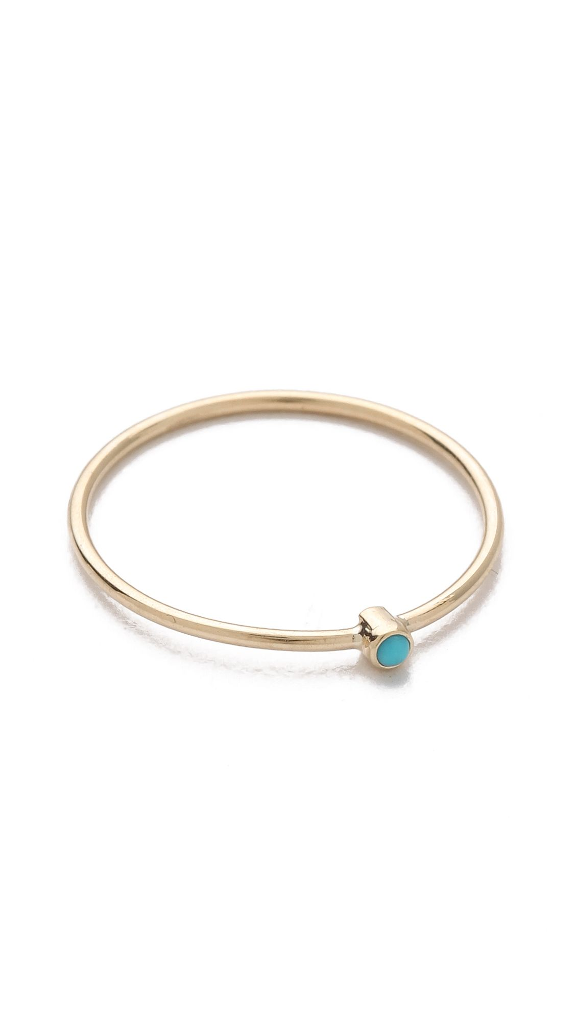 K gold thin ring with turquoise turquoise and ring