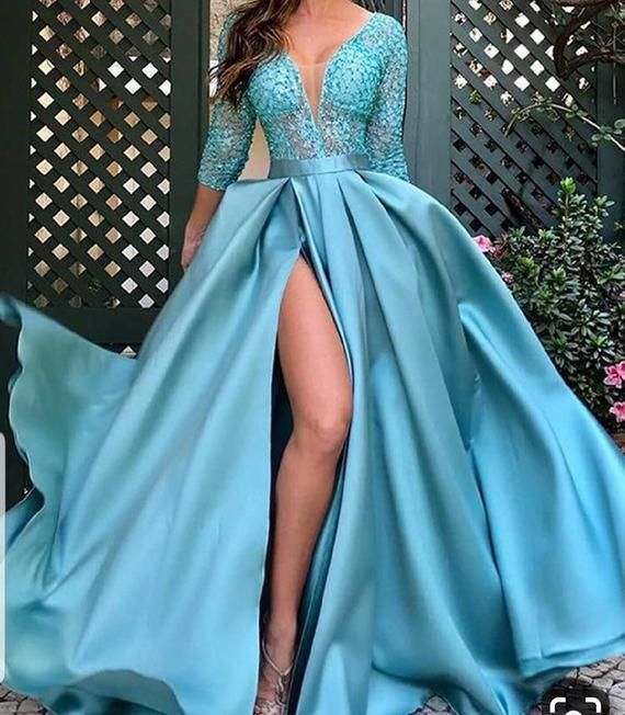Blue lace ball prom dress with slit,African dresse