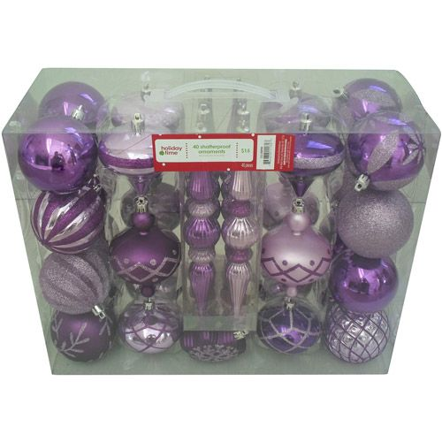 Holiday Time 40-Count Shatterproof Ornament Set, Purple